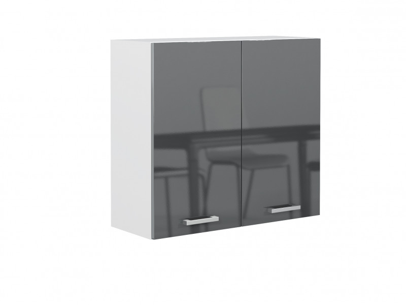 Free Standing Grey Gloss Kitchen Cabinet Cupboard Wall Unit 80cm 800mm - Modern Luxe (STO-MODERN_LUX-W80/58-GREY-KP01)