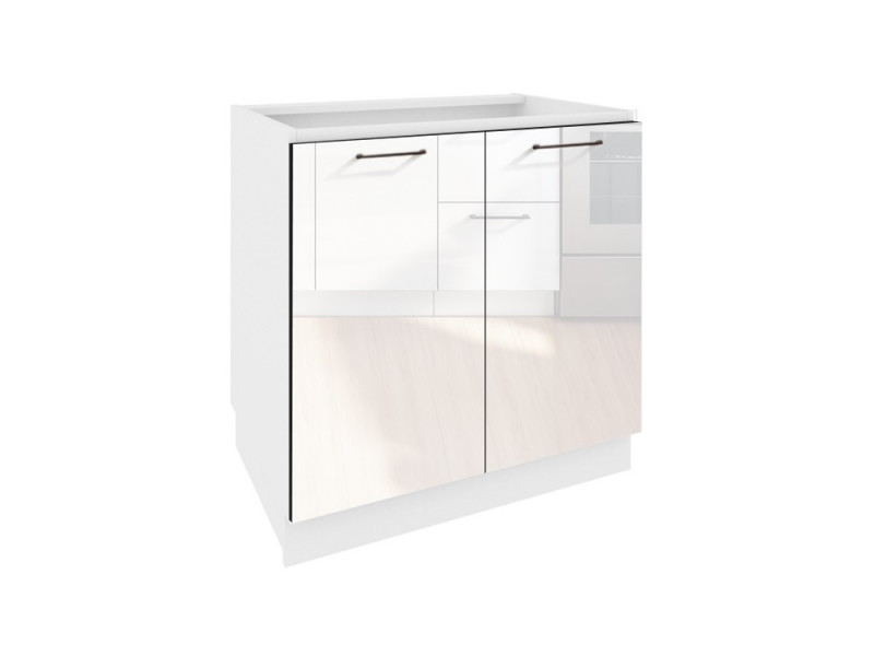 Free Standing White High Gloss Kitchen Base Cabinet Cupboard 2 Door Unit 80cm - Roxi (STO-ROXI-D80-BI-BIP-KP01)