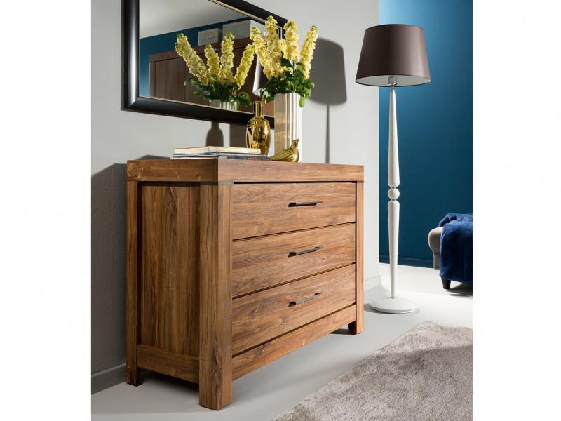 Modern 115cm Wide Chest of Three Drawers Living Room Dresser Office Storage Medium Oak Effect - Gent (S228-KOM3S/9/12-DAST-KPL01)