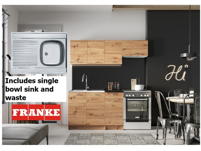 Complete Kitchen Set of 5 Cabinets Units Flat Pack in Artisan Oak finish with Franke Sink – Nela 1 (STO-NELA_SET-5UNITS_1.2/1.8-ARTISAN-FRANKE)