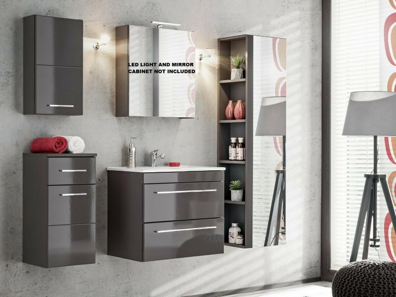 Modern Grey Gloss Bathroom Furniture Set 60cm Sink Cabinet Wall Storage Units Soft Close - Twist (TWIST_820_SET_GREY)