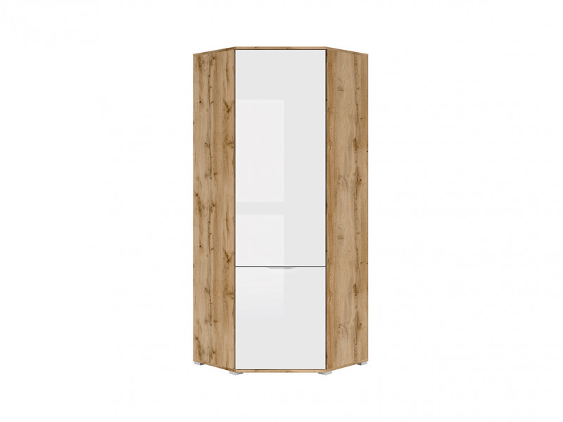 Modern Compact White Gloss & Oak Corner 1 Door Wardrobe with Rail and Shelf - Zele (S383-SZFN1D-DWO/BIP-KPL01)