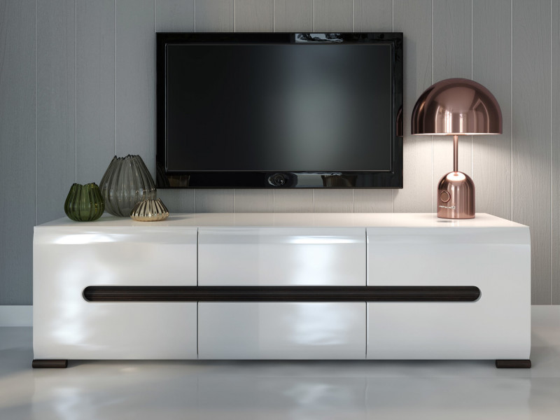 Tv Stand Cabinet Unit In White High Gloss Or Oak Azteca Living Room