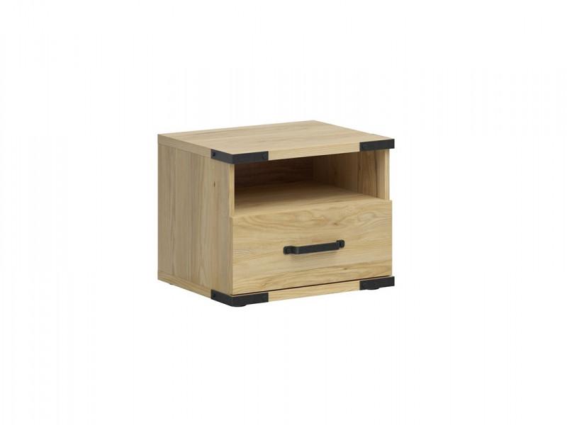 Modern Industrial Chic Bedside Table Side Drawer Unit Cabinet with Open Shelf Belarus Ash - Lara (S463-KOM1S-JBE-KPL01)