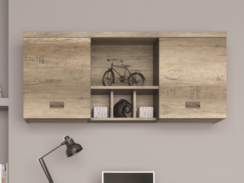Urban Wide Wall Mounted Unit Living Room 2 Door Cabinet with Shelves 120cm Oak Effect and Grey Finish - Malcolm (S325-SFW2D-DAMO/SZW/DAMON-KPL01)