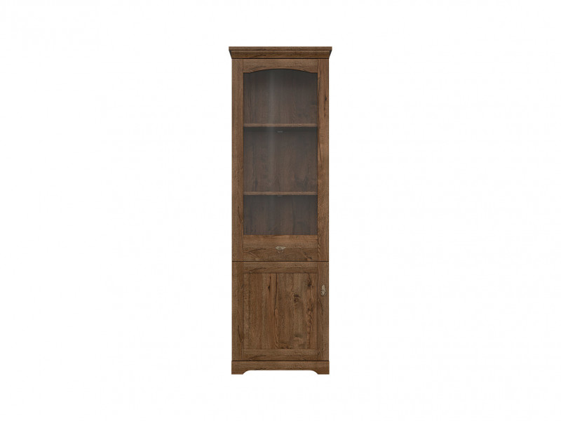 Classic Tall 2-Door Glass Display Cabinet Storage Unit LED Dark Oak - Patras (S405-REG1D1W/63-DARL + LED OPCJA)