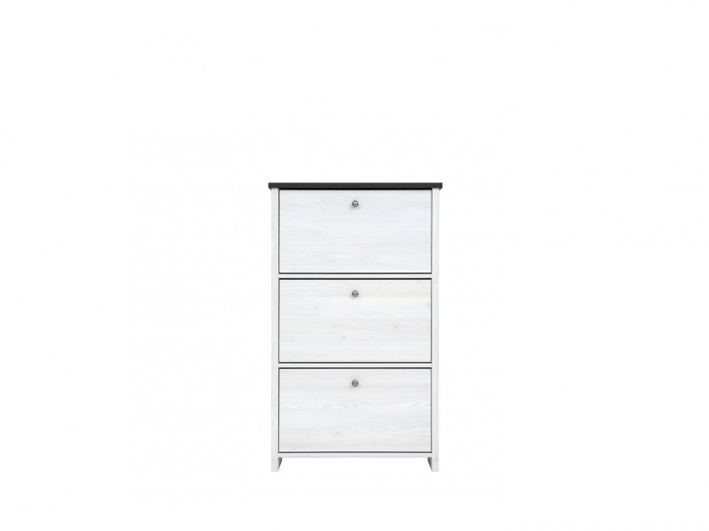 Shoe Cabinet Hallway Entrance Hall White Wash Wood Effect - Porto (S322-SFB3B-DBV-KPL01)
