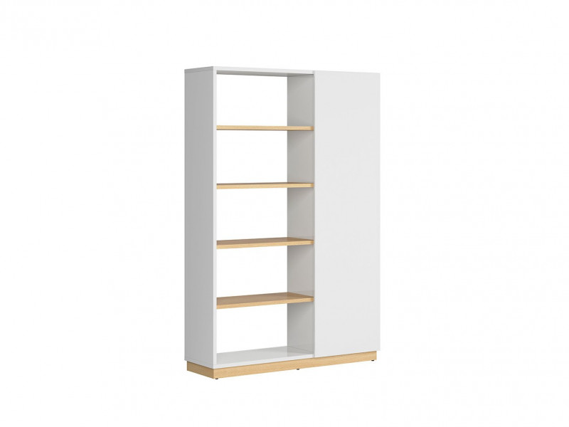 Modern Large Open Bookcase Shelving Storage Unit 180 cm Room Divider White Gloss/Oak Finish – Denton (S416-REG1D/120/180-DP/BIP-KPL01)