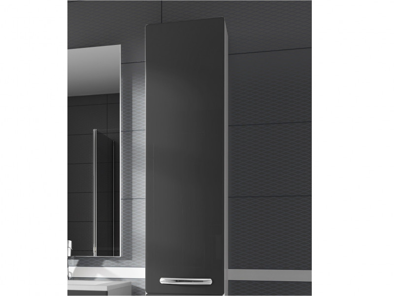 Tall Wall Mounted Bathroom Cabinet 1 Door Unit Grey High Gloss  - Coral (Coral W30SŁ P/L Grey)