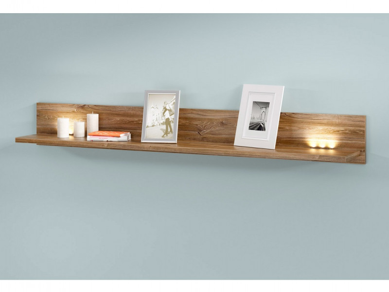 Modern Living Room Wall Mounted Floating Panel Display Shelf LED Light 200cm Medium Oak Effect - Gent (S228-P/3/20-DAST-KPL01)