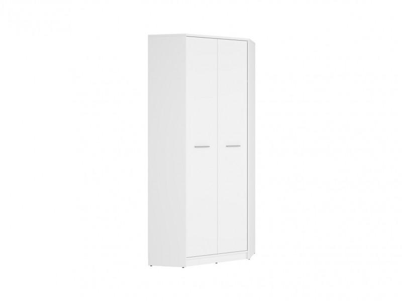 Modern Two Door Double Corner Wardrobe Bedroom Furniture Hanging Rail and Shelf White Matt Effect Finish - Nepo (S435-SZFN2D-BI-KPL01)