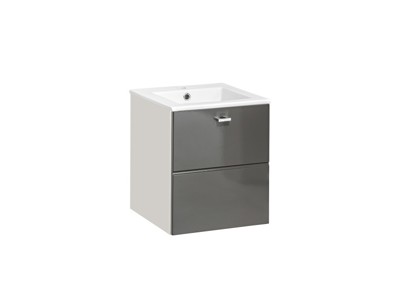Modern Grey Gloss Vanity Cabinet Wall Mounted Bathroom Unit with Sink 400mm 40cm - Finka (FINKA_821_GREY+CFP-9048B/8023-DP)