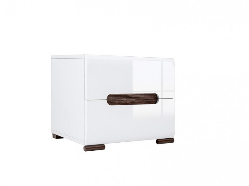 Bedside Cabinet Side Table with Drawers White High Gloss - Azteca (KOM2S/4/5)