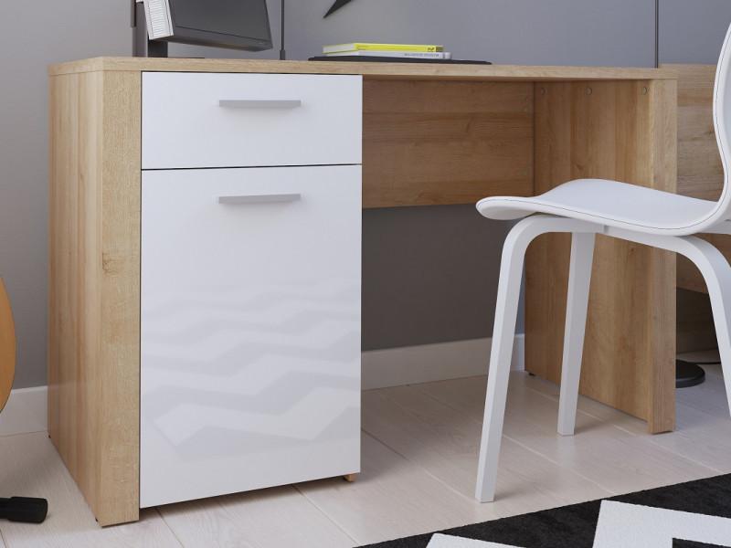 Modern Study Home Office 1 Door 1 Drawer Desk 120cm Dressing Table Unit Oak Effect White Gloss - Balder (S382-BIU/120-DRI/BIP-KPL01)