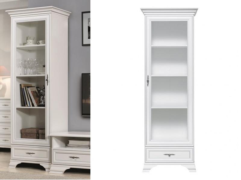 Classic White Matt Tall Glass Display Cabinet Unit with Shelves and a Slim Drawer - Idento (S320-REG1W1S-BI-KPL01)
