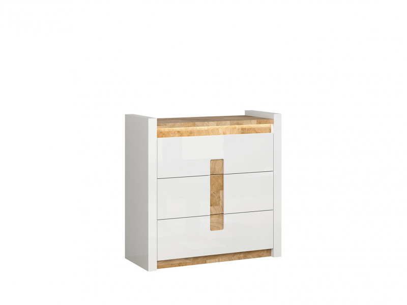Modern White Gloss Large Chest of 3 Drawers Storage Unit with LED Lights & Oak finish top - Alameda (S420-KOM3S-BIP/DWM/BIP)
