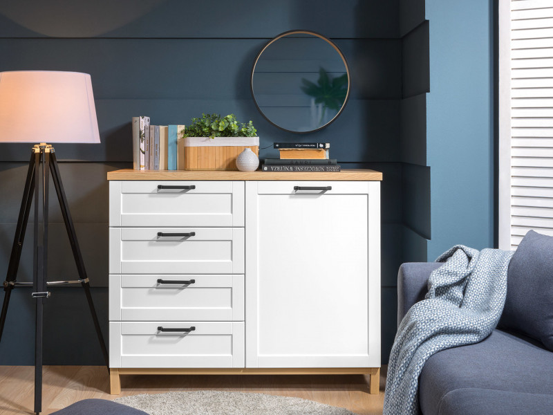Scandinavian 1-Door Sideboard Storage Cabinet Unit 4 Drawers 120 cm Soft Closing White/Oak - Haga (S369-KOM1D4S-BIM/BIC-KPL01)