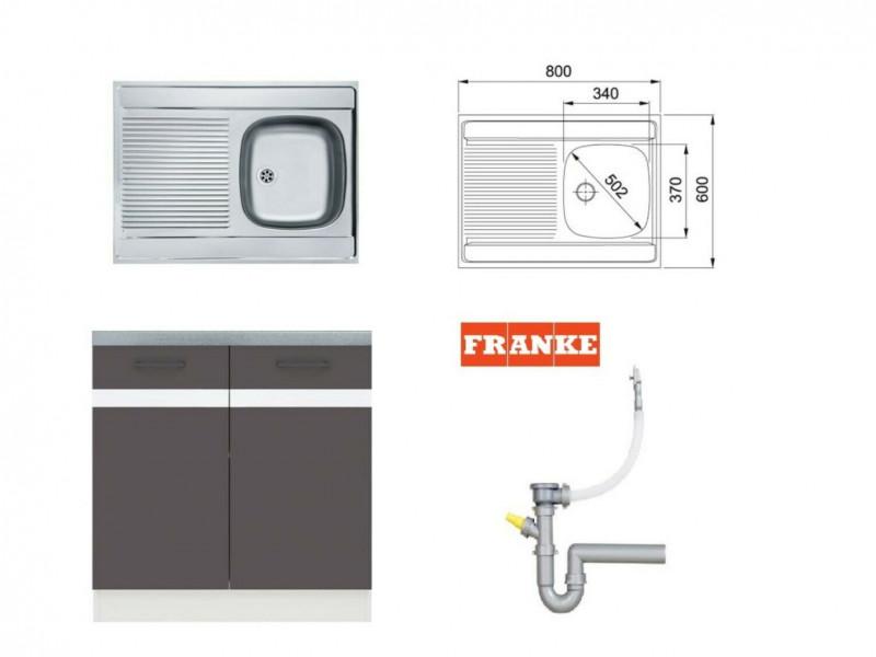Modern Free Standing Kitchen Cabinet Cupboard Under Sink Unit 80cm in Wolfram Grey/White Low Gloss with Single Bowl Franke Sink and Waste - Junona (K24-DK2D/80/82-BI/SZW-KPL01+FRANKE)