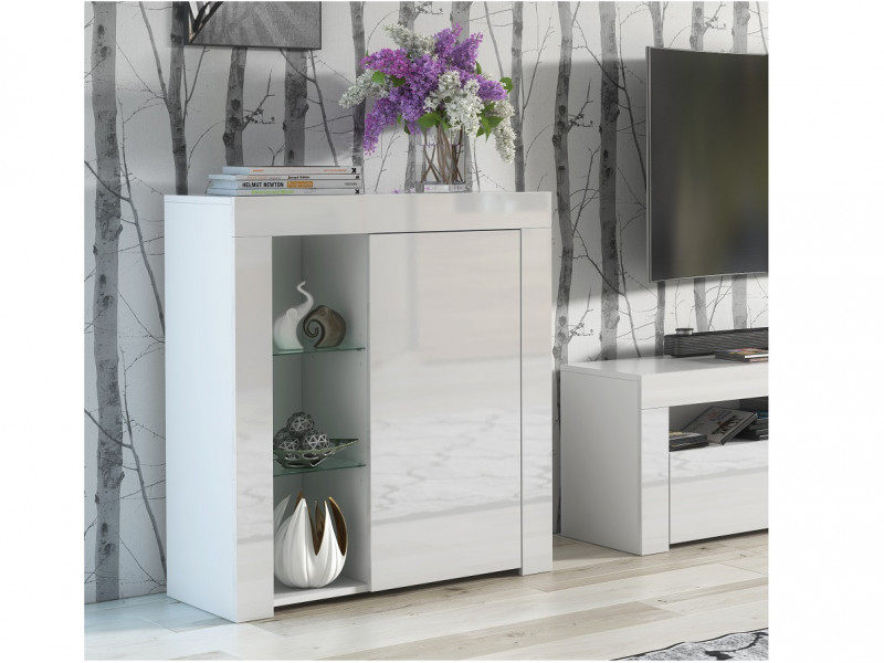 Small White Gloss Glass Bookcase Modern Display Cabinet Shelving Unit - Lily (HOF-LILY-1D_BI-BIP-KP01)