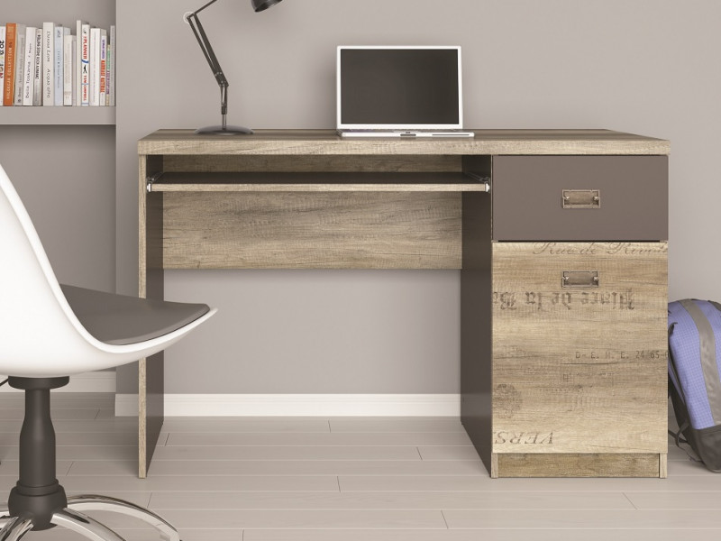 Urban 120cm Computer Desk for Home Office Study 120cm with Drawer Oak Effect and Grey Finish - Malcolm (S325-BIU1D1S-DAMO/SZW/DAMON-KPL01)
