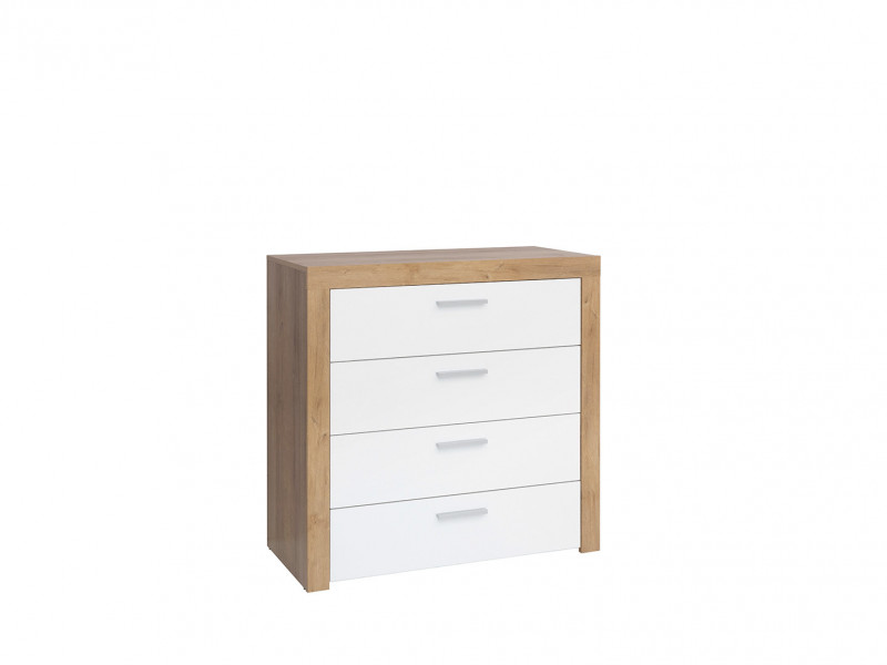 Modern Living Room Chest of 4 Drawers Cabinet Storage Unit Oak/White Gloss - Balder (S382-KOM4S-DRI/BIP-KPL01)