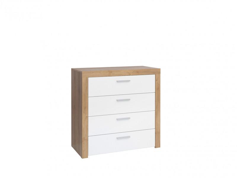 Modern Chest of Drawers White Gloss & Oak finish - Balder (S382-KOM4S-DRI/BIP)