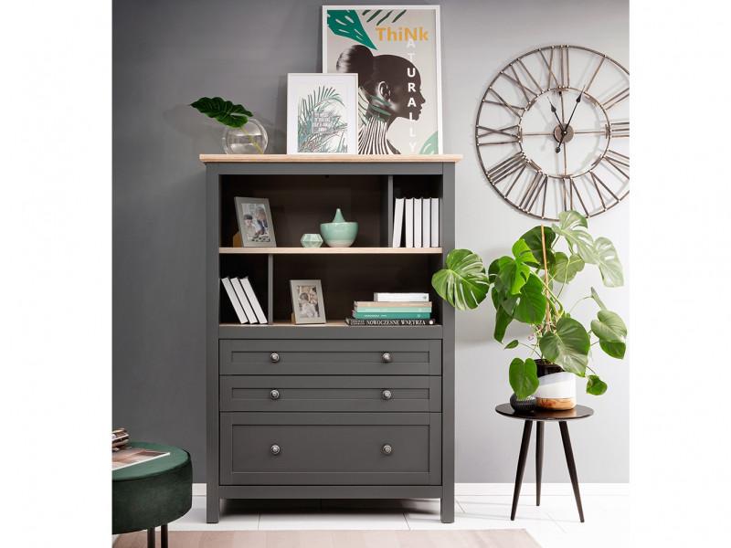 Modern Wide Bookcase Storage Shelving Unit with Drawers Country Grey / Oak Effect - Bocage  (S503-SFK3S/15/11-GF/DSAJ-KPL01)