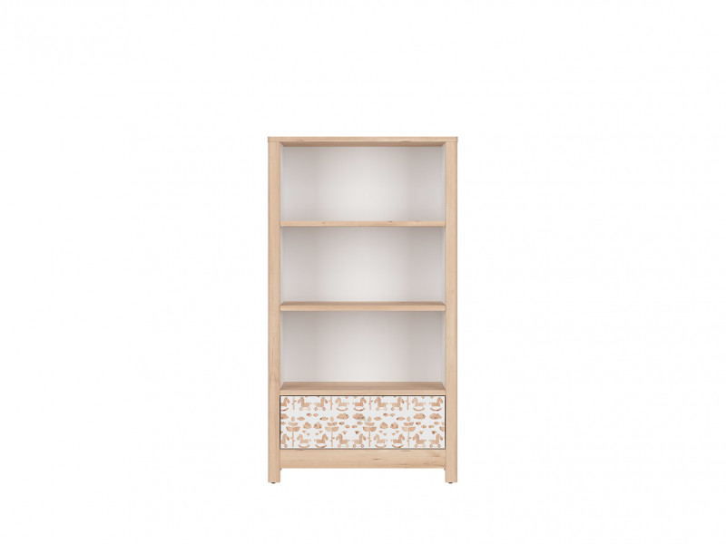 Short White / Beech Bookcase Shelving Unit with Drawer Modern Kids Baby Nursery Furniture Horse Motif - Timon (S401-REG1S/15-BUI/BI/KOA-KPL01)
