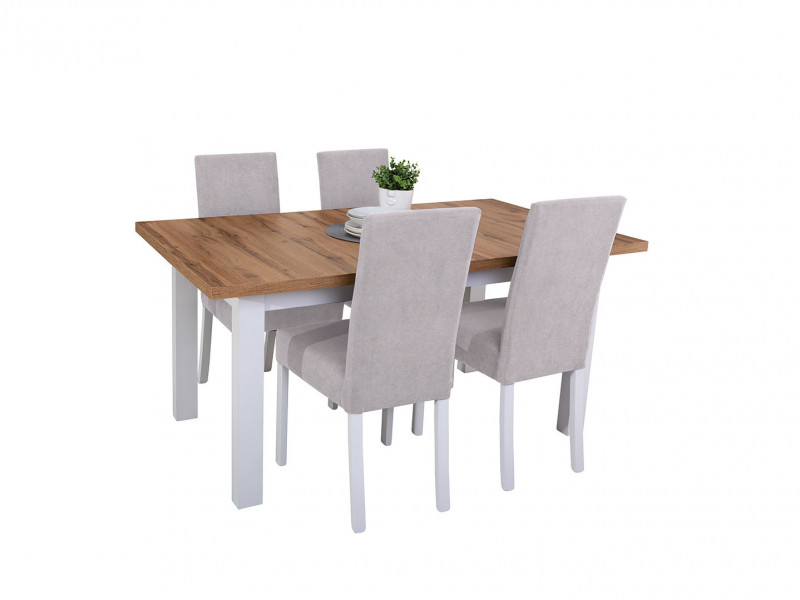 Scandinavian 5-Piece Dining Room Furniture Set Table and 4 Chairs White/Oak/Grey - Holten (HOLTEN DINING SET)