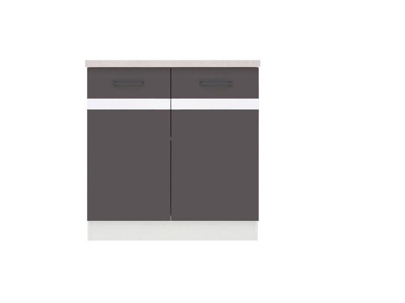 Modern Free Standing Kitchen Cabinet Base Cupboard 2-Door Unit 80cm - Grey Wolfram/White Gloss - Junona (K24-D2D/80/82-BI/SZW/INC-KPL01)