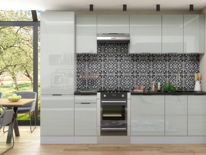 Light Dove Grey Gloss Kitchen Cabinets 8 Unit Set with 60cm Larder 300cm Set Modern Style - Luna (STO-LUNA_SET-7UNITS-60CMSL-SZ-SZP)