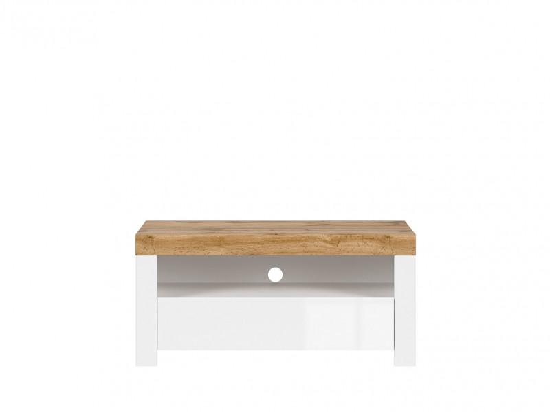 Scandinavian Media Table TV Stand Storage Cabinet Unit White Gloss/Oak 106cm - Holten (S397-RTV1S-BI/DWO/BIP)