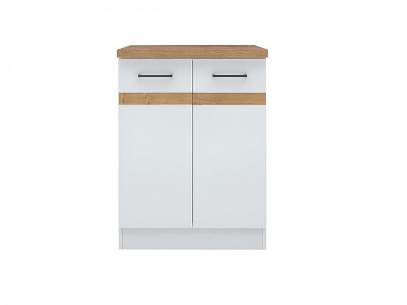 Modern Free Standing Kitchen Cabinet 600 Base Cupboard 2-Door Unit 60cm White/White Gloss - Junona (K24-D2D/60/82-BI/BIP/DCRZ-KPL01)
