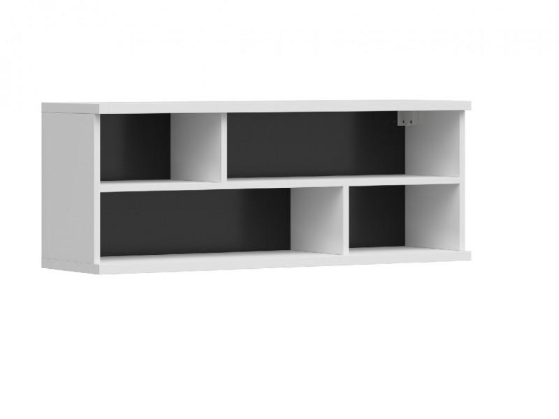 Modern White Wall Mounted Open Display Cabinet Shelf Shelving Unit with Black Insert 100cm - Assen (S513-SFW/4/10-BI/BIP-KPL01)