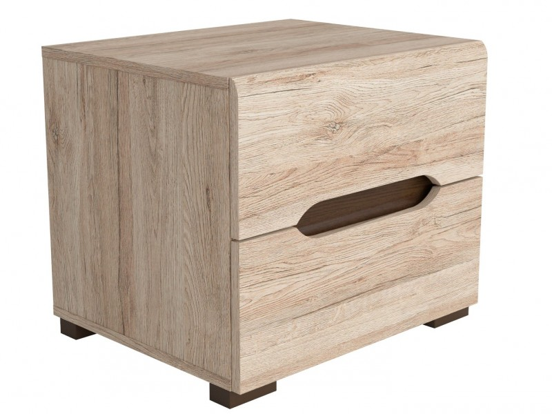Bedside Cabinet Table 2 Drawer Light Oak finish - Elpasso (S314-KOM2S-DSAJ/DWB-KPL01)