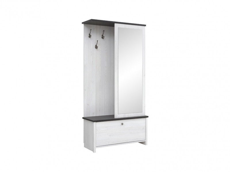 Scandinavian White Entrance Hall Hallway Furniture Set with Compact Mirror  - Porto (S322-PPK/95-MSJ-KPL01)