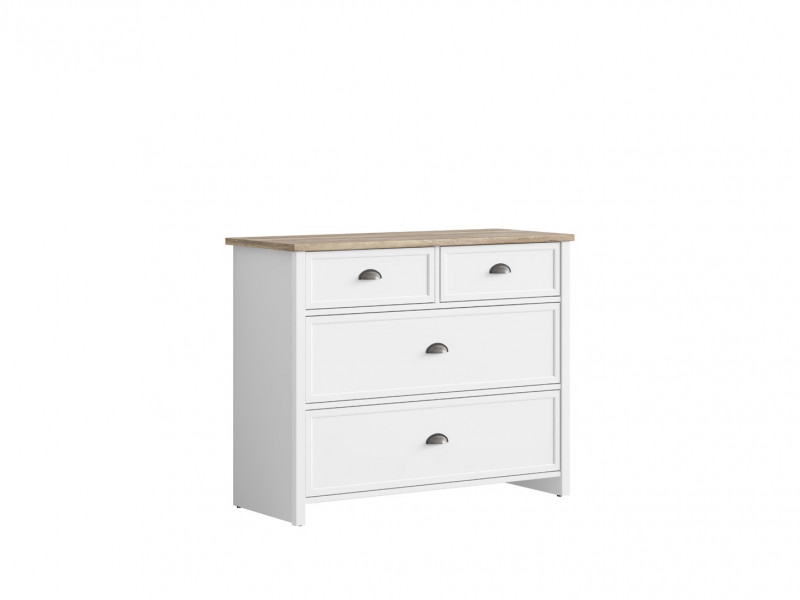 Wide Chest of 4 Drawers Country Style Cup Handles White/Oak Finish - Cannet (S351-KOM4S/110-BI/DAMO/BI)