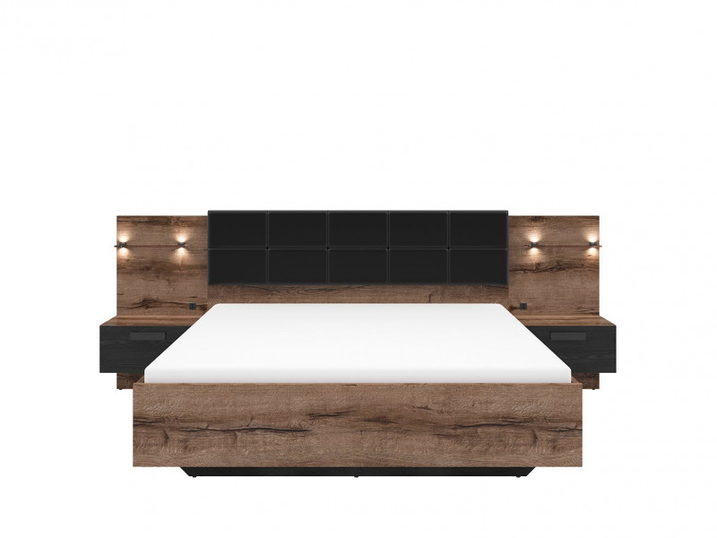 Elegant King Size Bed Frame Built-in Bedside Wall Cabinets USB LED Lighting Oak/Black - Kassel (L99-LOZ/160/A-DMON/DCA-KPL01+D15-WKL160/L16)
