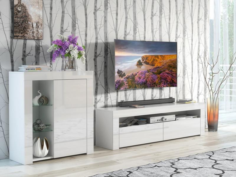 Modern White Gloss Living Room Furniture Set: Glass Display Cabinet & TV Unit Media Stand - Lily (HOF-LILY-RTV+1D-BI/BIP)