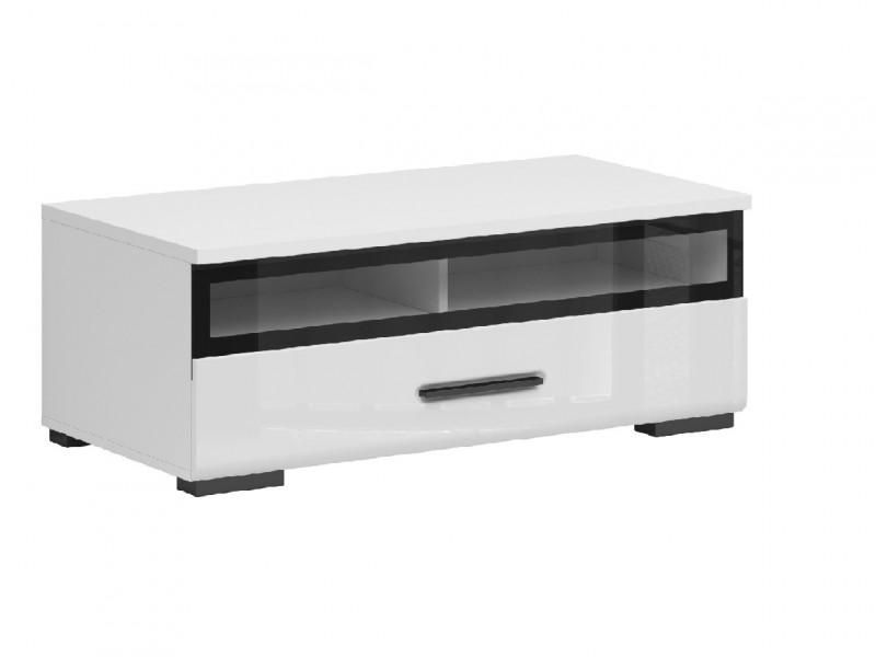 Modern White Gloss Media Bench TV Cabinet Entertainment Glass Drawer Unit 100 cm - Assen (S513-RTV1S/4/10_S-BI/BIP-KPL01)