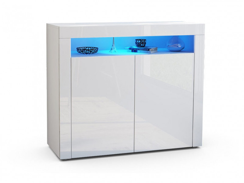 Square Small Sideboard Display Cabinet White High Gloss with Blue LED Light - Lily (KOM2D)