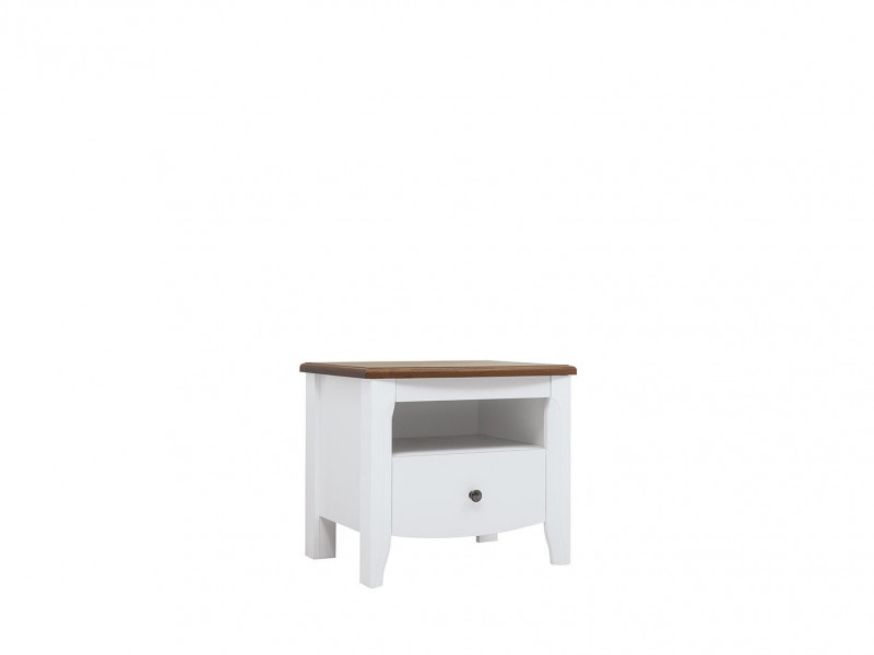 Classic White Gloss Acacia Wood Bedside Cabinet Bedroom Furniture Storage - Kalio (S423-KOM1S-BIP / ACZ / BIP)