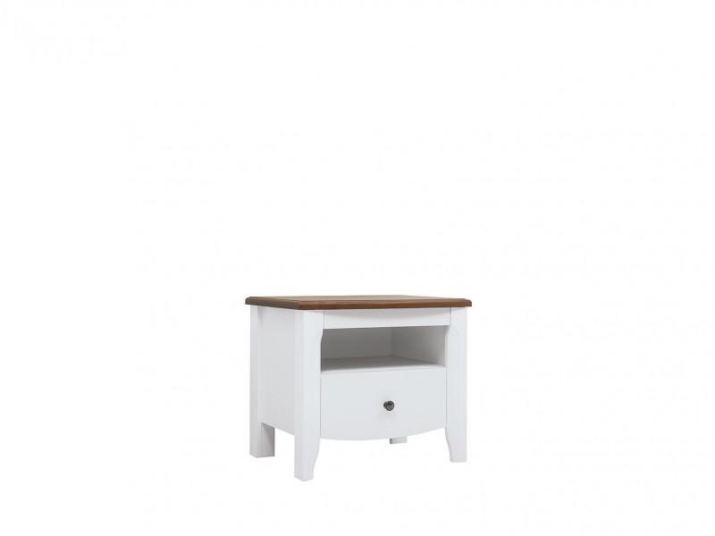 Classic White Gloss Acacia Wood Bedside Cabinet Bedroom Furniture Storage - Kalio (S423-KOM1S-BIP / ACZ / BIP)