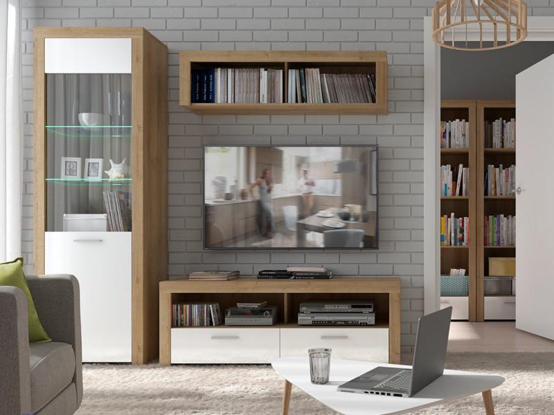 White Gloss & Oak Modern Living Room 3-Piece Furniture Set Storage Display TV Units with LED Light - Balder (S382-BALDER/LOUNGE1)