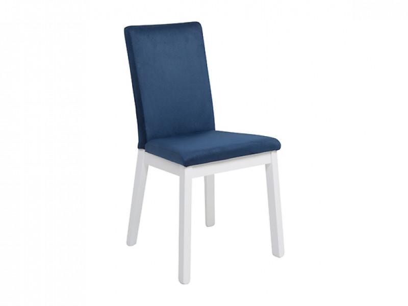 Scandinavian Modern Style White Solid Wood and Blue Velvet Upholstery Dining Room Chair - Holten (D09-TXK_HOLTEN/2-TX098-1-SOLAR_79_BLUE)
