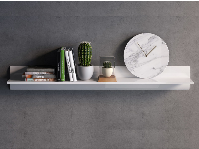 White Gloss Modern 150 cm Wall Mounted Floating Long Display Shelf Panel - Azteca Trio (S504-P/2/15-BI/BIP-KPL01)