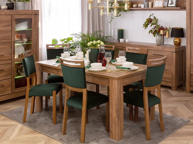 Modern Dining Room Furniture Set: Extending 160 - 240cm  Table and 4 Solid Wood Chairs Green/Oak Effect - Gent (S225-DINING_ROOM_SET_2-DAST)