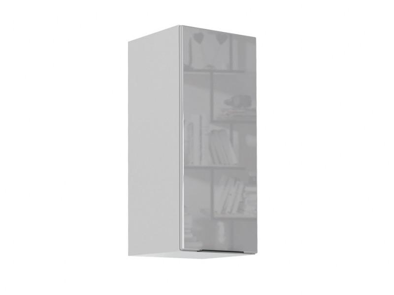 Light Dove Grey Gloss Kitchen Wall Cabinet 30cm Cupboard 1 Door Wall Mounted 300 Unit - Luna (STO-LUNA-W30-P/L-SZ/SZP-KP01)