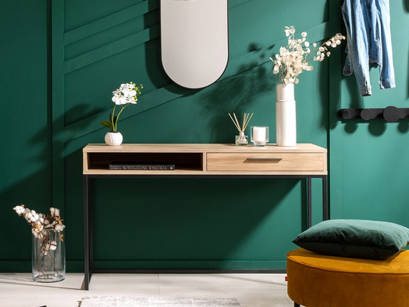 Industrial Dressing Table Console with Drawer Metal Legs Light Oak Effect Finish - Gamla (L79-TOL1S-GOK-KPL01)