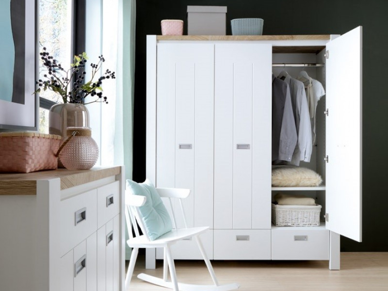 Country Cottage Free Standing 3-Door Triple Wardrobe with Drawers White/Oak - Dreviso (S378-SZF3D3S-BI/DWM/BI)